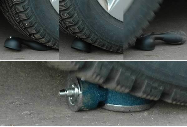 переезд тонометров колесом автомобиля